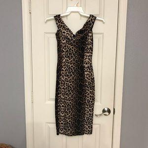 Nasty Gal Velvet Leopard Print Bodycon Dress SZ 2